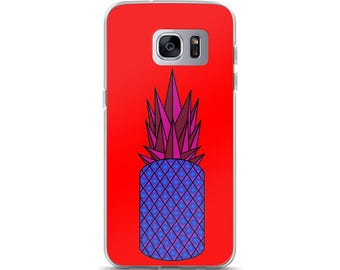 Retro Pineapple Samsung Case, original design, geometric, neon, orange, red, pink, blue, gift idea, present, phone case