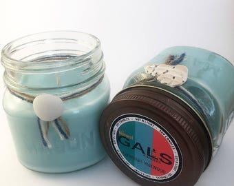 Caribbean Teakwood 8oz Mason Jar Soy Wax Organic Candle