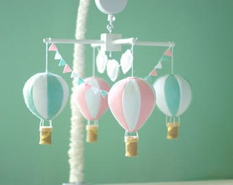 Hot air balloon baby crib mobile, balloon nursery, pink and seafoam green mobile, baby girl mobile, baby shower gift