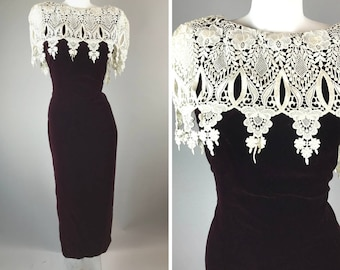Vintage 90s Jessica Mcclintock Maroon Velvet Prom Dress White Lace Doily Wiggle 14