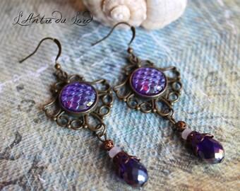 Boucles d'oreilles écailles sirène dragon version violet