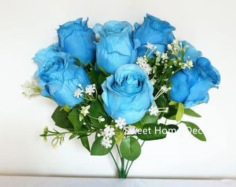 JennysFlowerShop 18'' Silk Rose Bud Flower Bouquet Wedding Home Decoration Craft Flowers (9 Stems/9 Flowers) Blue