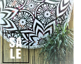 NOW SALE 20% OFF Kaleidoscope Flower Round Beach Yoga Luxury Towel Bohemian Blanket