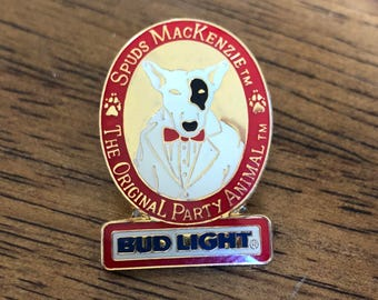 Vintage 80's Bud Light Spuds Mackenzie The Original Party Animal Pin- Free Shipping!