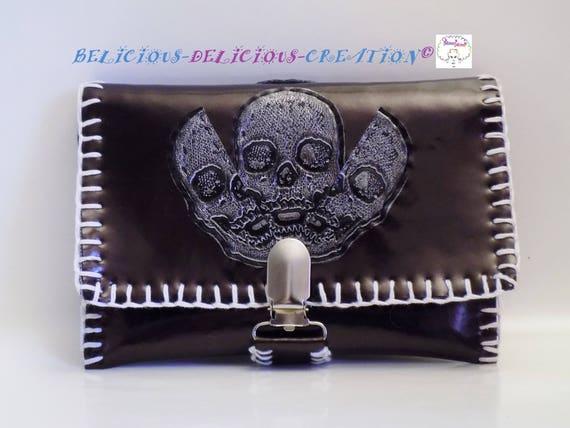 Original Porte Monnaie !! INNERSKULL !! en simili cuir Marron et gris brillant T: 15 cm x 11 cm