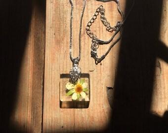 Handmade Pressed Strawberry Flower Pendant Necklace : Opaque