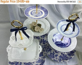 SALE Wedding Cake Stand, 3 Tier ,Blue Willow, Tiered Serving Tray , White Blue