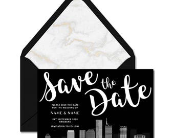 Save the Date - Brisbane City Skyline | Printable/Digital Wedding Invitation