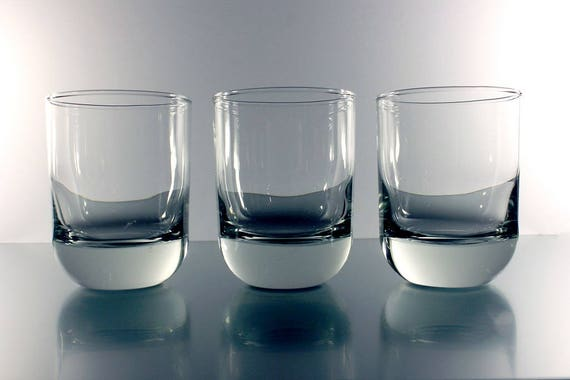 Rock Glasses, Cocktail Glasses, Set of 3, Clear Glass, Heavy, Barware