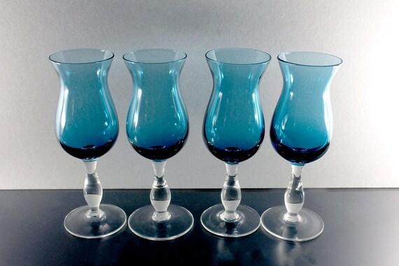 Blue Cordial Glasses, Dessert Glasses, Cocktail Glasses, Madeira Glasses, Set of 4, Barware
