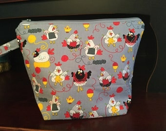 Knitting Chickens Zippered Knitting Project Bag