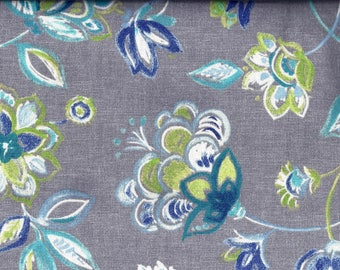 Blue Gray Floral Aqua Curtain Valance