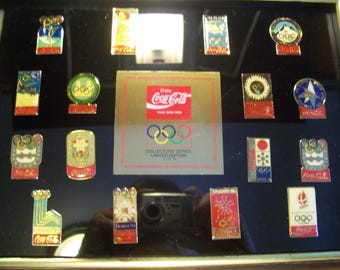 Sixteenth Anniversary Olympic Winter Games Pins, Coca Cola