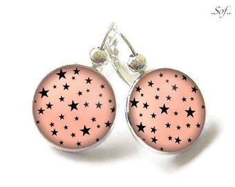 Stud Earrings with cabochon 18 mm * Star * (070617)