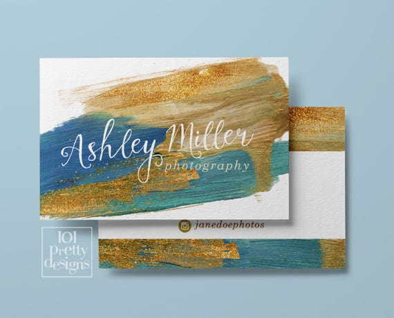 paint business card design navy gold glitter printable business