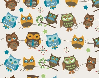 "Riley Blake Doohikey Owls HD3441-Cream Home Decorator Cotton Canvas Fabric HD3441 - listing for 1 Yard (57-58"" wide) - DP"