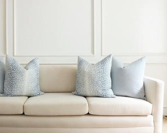 Antelope Linen Print // Spa Blue Pillow COVER ONLY