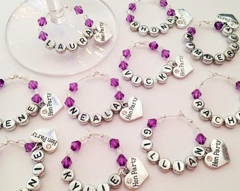 Hen Party Bachelorette Favour Gift Wine Glass Charms Personalised (each)