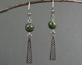 Celtic knot silver plated drop earrings with Russian serpentine accents