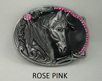 Stunning Swarovski crystal rhinestone vintage style rodeo western COWGIRL UP horse head silver toned and black belt buckle 20 colors Avail