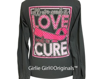 Girlie Girl Originals All We Need Is Love-Cure Charcoal Long Sleeve T-Shirt