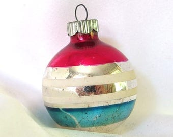 Small Striped Shiny Brite Christmas Ornaments - Vintage Silver, Hot Pink and Blue