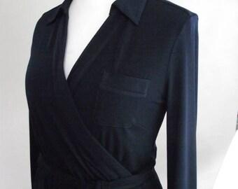 summer sale Vintage Planet navy faux wrap dress 90s wrap style navy blue Dress size small medium
