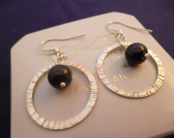 """Unique circular silver and black bead earrings - 925 - sterling silver - 1.7"""" drop - g"""