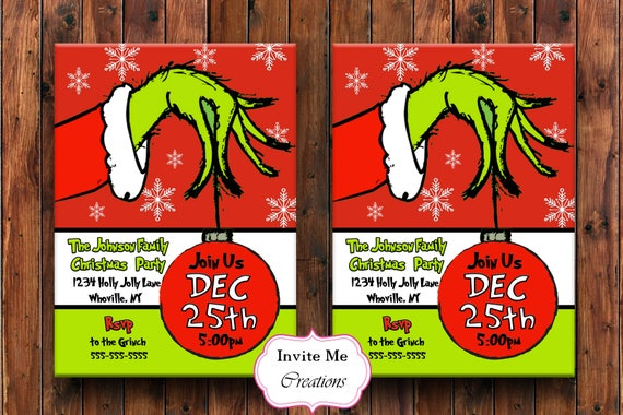 Grinch Invitation The Grinch Holiday Invite Grinch Christmas