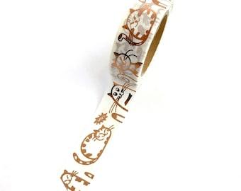 Cat Washi Tape Copper Rose Gold Metallic Foil Kitty Cats 15mm x 10m