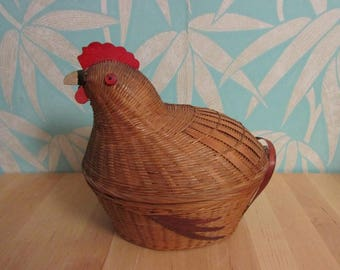 Quirky vintage wicker chicken egg basket with wooden accents
