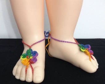Baby Birthstone Barefoot Sandals -Pair (July)