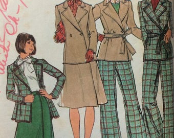 Butterick 3946 vintage 1970's misses jacket, skirt & pants sewing pattern size 16 bust 38 waist 30  Uncut  Factory folds