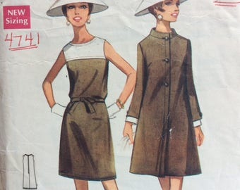Butterick 4741 misses dress & coat size 18 bust 40 vintage 1960's sewing pattern