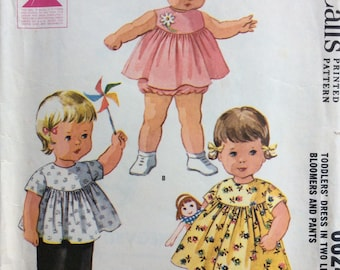 McCall's 6624 toddler girls dress in two lengths with bloomers & pants size 6 months or size 1 vintage 1960's sewing pattern