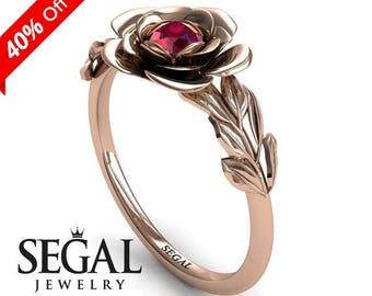 Custom Engagement Ring 14k Rose Gold Ruby Ring Designer Ring Solitaire Engagement Ring Rose Ring Custom Engagement Ring - Adalyn
