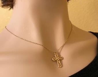 Cross Necklace I: gold filagree