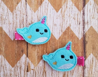Narwhal hair clips, narwhal clippies, narwhal hair bows, toddler hair clips, pigtail clips, felt hair clips. clippie set, hair clips, clips