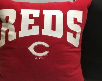 Cincinnati, Ohio Baseball T-Shirt Pillow 16x16 Upcycled One of a Kind