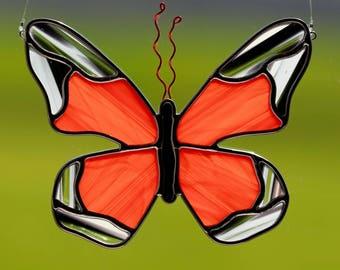 Stained glass monarch butterfly suncatcher, stain glass monarch ornament, glass butterfly, orange butterfly, garden decoration