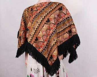Poncho, Fringe poncho, Cotton poncho, 70s poncho, Cotton fringe poncho, Top coat poncho, Boho poncho, Ethnic pullover poncho, Womens poncho