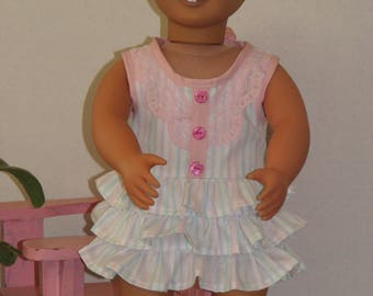 "Flirty Summer Dress for 18"" Dolls. Made in USA fits American Girl, Our Generation Dolls"