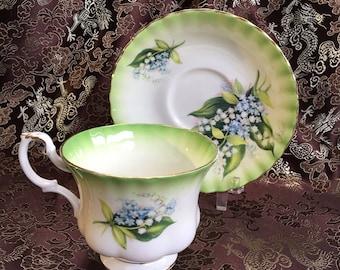 Royal Albert Green Radiant Bone China Tea Cup and Saucer England