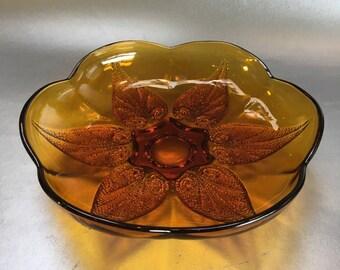 Amber Flower Depression Glass Decorative Serving Plate Vintage