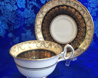 Royal Stafford Gold and Black Bone China Tea Cup and Saucer England