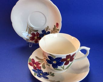 1 Cup and 2 Saucers Blue Ridge Antique American Southern Pottery