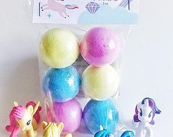 Mini Unicorn Magic Bath Bombs, 6 unicorn bath bombs, bath bombs, party favors, spa favors, bath bomb, bath fizzy,  unicorn favors, spa gift