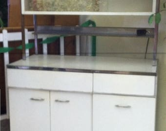 35% off Sale Vintage retro white Kitchen metal cabinet Mad Men Bar storage Man Cave