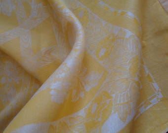 Vintage 1940s French Square Yellow Linen Damask Tablecloth, floral and trellis.