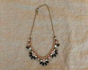 Blue and Pink Statement Bib Necklace
